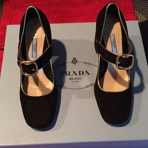 Prada Suede Black Gold Piping Buckle Leather New!